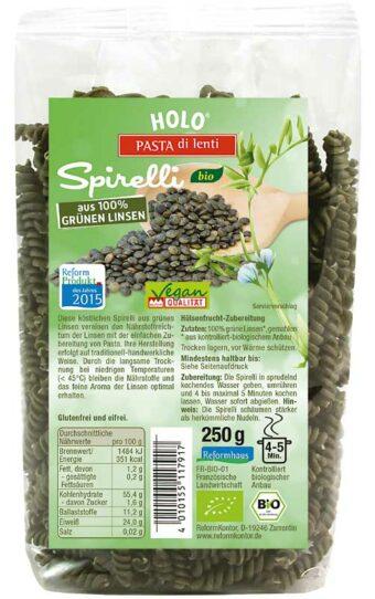 Grüne-Linsen-Spirelli 250g-Packung