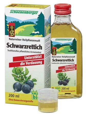 Schwarzrettich-Saft 200ml-Flasche